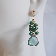 Gorgeous Sage Green Quartz and Genuine Emerald Dangle Earrings