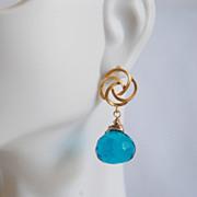 London blue quartz Onion Briolette dangle earrings