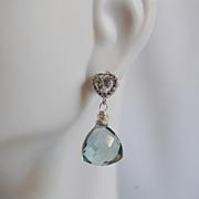 Cute Little Sage Green Quartz Dangle Earrings