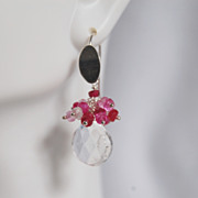 Gorgeous Shaded Ruby and Crystal Quartz heart Briolette dangle Earrings