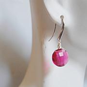 Gorgeous Pomegranate Pink quartz dangle Earrinfgs.