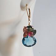 Gemstone earrings-Gorgeous London Blue Quartz- Multi tourmaline - gold filled Earrings