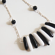 Black and White Onyx Necklace - Statement necklace- Bib necklace