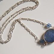 SOLD Wedding Jewelry - Bezel setting Iolite Blue sapphire rondelles Pendant necklace on Sterli
