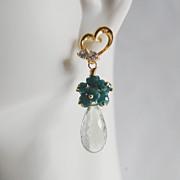 Gemstone Amethyst Cluster Earrings - Green Amethyst and Genuine Emerald Dangle Earrings