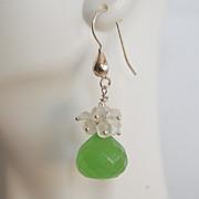 Gemstone Cluster Dangle Earrings - AAA green quartz and Moonstone cluster Dangle earrings