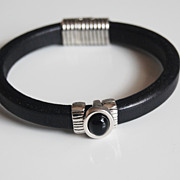 Men's Black Licorice Leather Bracelets - leather Bracelets- Mens jewelry- Mens Bracelets- Blac