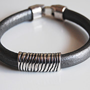 Men's Silver color Licorice Leather Bracelets - leather Bracelets- Mens jewelry- Mens Bracelet