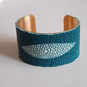 Stingray Bracelet -Teal Green Genuine Stingray Leather Cuff Bracelet - Cuff Bracelet- Leather