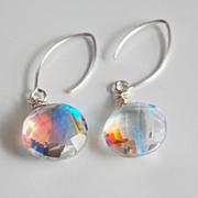 Fire Rainbow Moonstone Quartz Dangle Drop Earrings- Wedding Jewelry