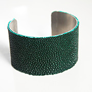 Stingray Bracelet - Dark Forest Green Genuine Stingray Leather Cuff Bracelet - Cuff Bracelet-