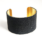 Stingray Bracelet -Jet Black Genuine Stingray Leather Cuff Bracelet - Cuff Bracelet- Leather B