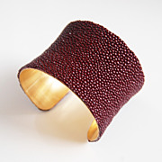 "Stingray Bracelet -Maroon Genuine Stingray Leather Cuff Bracelet -2"" Concave Cuff Bracele"