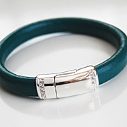 Teal Green Licorice Leather Bracelet With silver Pave Magnetic Clasp- Leather Bracelet - Bangl