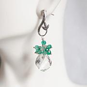 Crystal Quartz Cluster dangle Drop Earrings - Wedding Jewelry -Mystic Green Quartz Dangle Earr