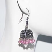 Chandelier Earrings - Pink Quartz Chandelier Earrings - Jhumka Earrings-