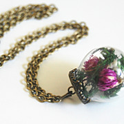 Mini Glass Globe Bottle Pendant Necklace with Dry Flowers- Brass Chain