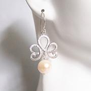 Pearl Wedding Earrings- Wedding Jewelry- Bridal Jewelry-Fresh Water Pearl Dangle Drop Earrings