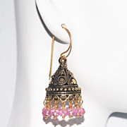 Chandelier Earrings - Pink Quartz Chandelier Earrings -Pink Earrings- Jhumka Earrings- Pink Dr