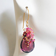 Plum Quartz And Genuine Shaded Ruby Cluster Dangle Drop Earrings- July Birthstone Earrings - W