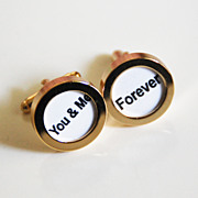 Men's Cuff links - Men's jewelry-- 'You & me ' Cufflinks-Photo Cuff Links- Cuff links - Men's