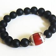 Unisex Bracelet- Men's Bracelets - Men's Jewelry - Men's Matte black Onyx - Tibetan Red ...