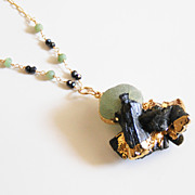 Raw Black Tourmaline With Prehnite Edged in gold Pendant Necklace -Statement Necklace - Fine J