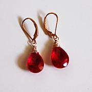 Ruby Red Quartz Dangle Drop Earrings- Wedding Jewelry- Bridal Jewelry-Red Earrings