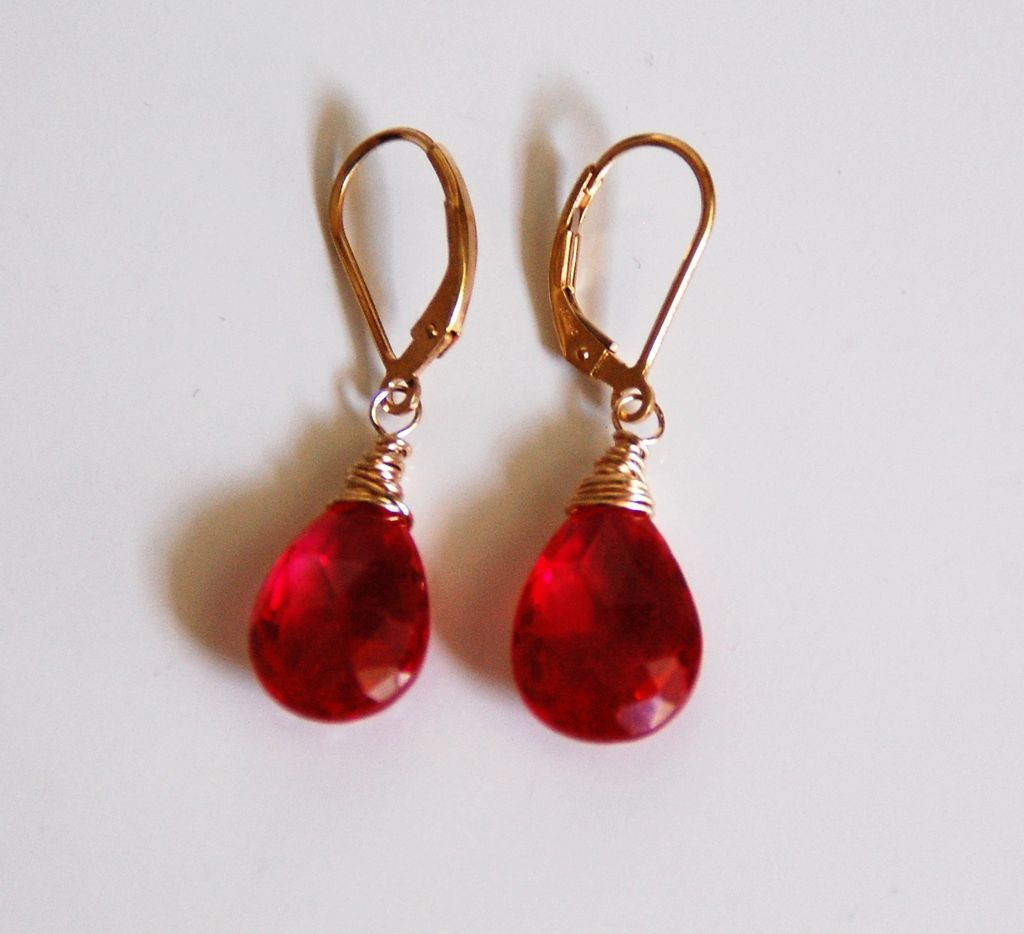 Ruby Red Quartz Dangle Drop Earrings Wedding Jewelry