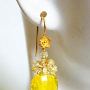 Gemstone Madeira Quartz and Yellow Quartz Cluster Drop Dangle Earrings- Wedding jewelry- Brida