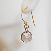 Gorgeous Smoky Quartz Disc Briolette Dangle Drop Earrings - Wedding jewelry- Bridal Jewelry
