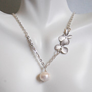 SOLD Fresh Water Cultured Pearl And Orchid Flower necklace- Wedding Jewelry- Bridal Jewelry