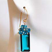 Gorgeous Paraiba Teal Blue Quartz And London Blue Quartz Cluster Dangle Drop Earrings -Blue Ea