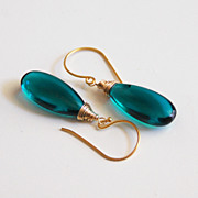 SOLD Paraiba Teal Green Quartz Smooth Elongated Briolette Dangle Drop Earrings - Wedding Jewel