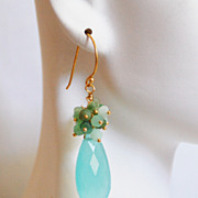 Aqua Chalcedony Pear Briolette and Chrysoprase cluster Dangle Drop Earrings-Aqua Earrings