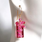 Gorgeous AAA Rubelite Quartz And Genuine Shaded Ruby Rondelles Cluster Dangle Drop Earrings -B