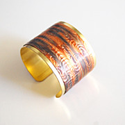 Cuff Bracelet --Solid Brass Bracelet with embossed copper patina Design - Women's Bracelet