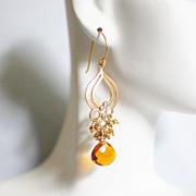 Cluster Earrings - Chandelier Earrings -Beer Quartz And Gold Pyrite Chandelier Dangle Drop Ear
