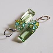 Gorgeous Green Amethyst Quartz And Multi color Quartz Cluster Dangle Drop Earrings Green Earri