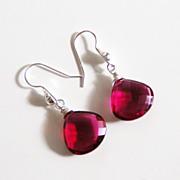 Hot Pink Rubelite Quartz Dangle Drop Earrings - Wedding Jewelry - Bridal Jewelry