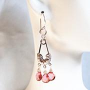 Pink Mystic Quartz Chandelier Earrings- Dangle Drop Earrings