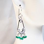 Green Quartz Chandelier Earrings- Dangle Drop Earrings