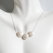 Cultured  Fresh Water Coin Pearl Pendant Necklace on Sterling silver Beading Chain -Wedding Je