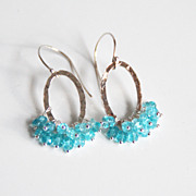 Apatite Hoop Earrings- Silver Chandelier Dangle Drop Earrings-Wedding Accessories- Bridal Jewe
