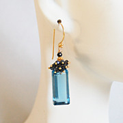 Gorgeous London Blue Quartz And Black spinel Cluster Dangle Drop Earrings -Blue Earrings