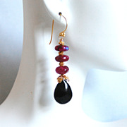Ruby Red Color Rainbow Moonstone And Black Onyx Dangle Drop Earrings