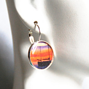 Bazel setting Resin Drop Earrings - Boat Earrings- Dangle Drop earrings - photo image Earrings