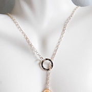 Rare AAA Flameball Baroque cultured Pink fresh water pearl Lariat Necklace- Wedding Jewelry- B