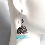 Chandelier Earrings - Apatite Chandelier Earrings - Jhumka Earrings- Blue Chandelier- Dangle D