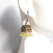 Chandelier Earrings - Peridot Chandelier Earrings - Jhumka Earrings- Green Chandelier- Dangle